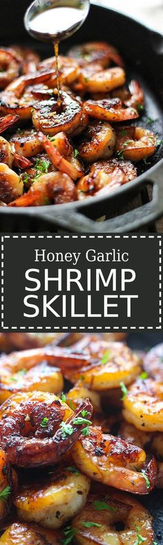 This smoky and sweet honey garlic shrimp skillet is super easy with only five ingredients and cooked in less than 15 minutes! Recipes With Cooked Shrimp, Yummy Rice Recipes, Recipes With Sesame Oil, Cooking With Sesame Oil, Chicken And Shrimp Recipes, Cast Iron Chicken Recipes, Shrimp Dinner Recipes, Healthy Shrimp Recipes, Sauteed Shrimp Recipe