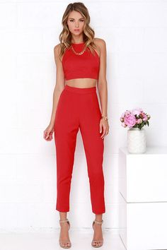Well-Suited Red Two-Piece Set at Lulus.com! #4thofjuly