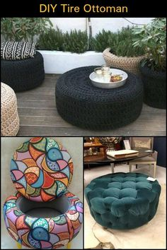Old Tires Are Hard to Get Rid of. The Solution? Turn Them Into an Ottoman! Old Tires Are Hard to Get Rid of. The Solution? Turn Them Into an Ottoman! Tire Furniture, Diy Furniture Decor, Diy Outdoor Furniture, Recycled Furniture, Furniture Projects, Furniture Design, Diy Home Crafts, Diy Home Decor, Tire Ottoman