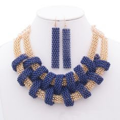 Isabella Colored Mesh Chain Statement Necklace and Matching Earrings Set