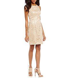 Vince Camuto Illusion Lace Sequin Sheath Dress #Dillards