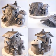 Tree stump fairy house this is a custom lidded yarn bowl with toadstool crochet hook holder could also be a lantern coloured and finished in about three weeks earthwoolfire etsy com Clay Fairy House, Fairy Houses, Paper Clay, Clay Art, Diy Clay, Clay Crafts, Hobbies And Crafts, Diy And Crafts, Fairy Crafts