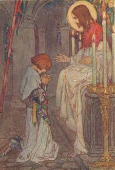 """Rise up, and look and listen, Galahad"" by: Florence Harrison (Artist) from: Early Poems of William Morris (Facing p. 36) -  1914"