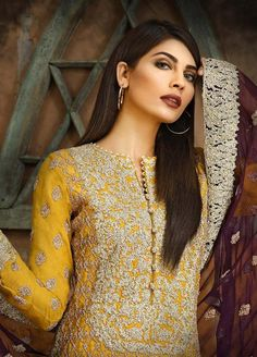 0ec563b0fa Asim Jofa Embroidered Chiffon Stitched 3 Piece Suit AJ18-F2 4B - Signature  Embroidered Collection