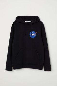 Sweat-shirt à capuche et motif - Noir/NASA - HOMME | H&M BE 1 - 24,99 euros