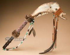 "Native American Buffalo Jaw Bone War Club 25"" -Creek (t33 ..."