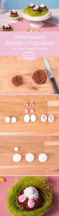 Osterhasen-Schoko-Cupcakes: Wonach der Hase in diesem Cupcake wohl sucht? Nach der feinen Nuss-Nougat-Creme im Inneren