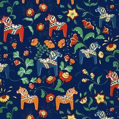 Dalahäst Stoff - blau - Arvidssons Textil