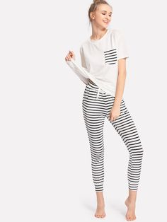 fe8a1a6d92 Shop Patch Pocket Tee And Striped Pants PJ Set online. SHEIN offers Patch  Pocket Tee And Striped Pants PJ Set   more to fit your fashionable needs.
