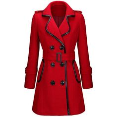 Designed Lapel Double Breasted Leather-Trimmed Woolen Coat (€37) ❤ liked on Polyvore featuring outerwear, coats, long coat, leather trim coat, red wool coat, wool coat and lapel coat