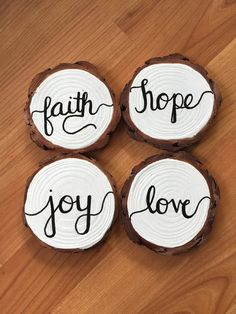 Faith Hope Joy Love Wooden Coaster Set – In-house Factory Wood Slice Crafts, Wood Burning Crafts, Wood Crafts, Christmas Projects, Holiday Crafts, Christmas Crafts, Christmas Ideas, Country Christmas, Christmas 2019