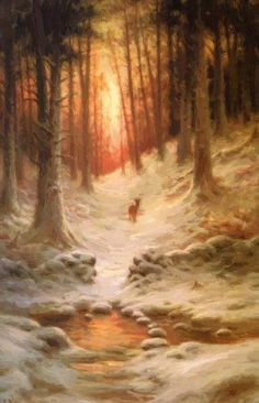 Joseph Farquharson In Deep Mid Winter - Handmade Oil Painting Reproduction on Canvas Winter Szenen, Winter Painting, Snow Scenes, Paintings I Love, Beautiful Paintings, Winter Wonder, Winter Landscape, Great Artists, Landscape Paintings