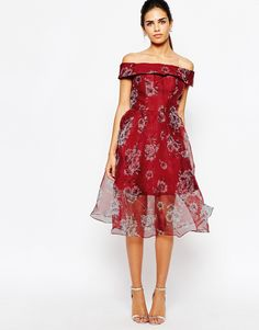 Image 1 of Chi Chi London Off Shoulder Organza Midi Dress