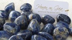 ~Lapis Lazuli~ Opens the third eye and balances the throat chakra. It is a protective stone that contacts spirit guardians. This stone harmonises the physical, emotional, mental and spiritual levels. Brings in harmony and deep inner self-knowledge. ($4.00 each)
