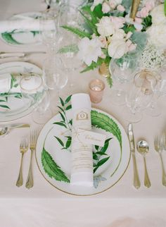 Some wedding colors look extra lovely next to a white centerpiece! The blush details here really allow the white peonies, roses, and clematis in these floral arrangements by Tara Guérard Soirée to pop. Wedding Places, Wedding Menu, Home Wedding, Wedding Ideas, Wedding Tables, Spring Wedding, Wedding Details, Wedding Reception, Wedding Inspiration