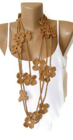 Fashion lariat scarveshand crochetedgiftbrowngift by seno on Etsy, $19.90