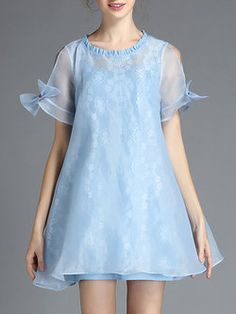 Organza A-line Short Sleeve Casual Mini Dress