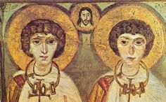 "The Forgotten History of Gay Marriage--In the famous St. Catherine's monastery on Mount Sinai, there is an icon which shows two robed Christian saints getting married. Their 'pronubus' (official witness, or ""best man"") is none other than Jesus Christ. The happy couple are 4th Century Christian martyrs, Saint Serge and Saint Bacchus — both men."