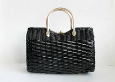 1950s Handbag / Vintage Wicker Handbag / Black Handbag by modhuman, $52.00