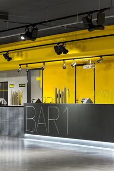 Gallery of Multipurpose Hall Forum Karlín / Atelier 8000 - 2 Gym Design, Fitness Design, Cafe Design, Retail Design, Store Design, Gym Interior, Yellow Interior, Office Interior Design, Office Interiors