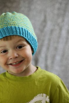 Sunny Stripes Hat: made with 2 colors of worsted weight yarn and size 5 & 7 needles