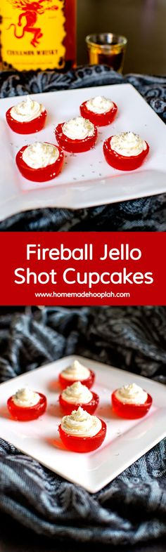 These Fireball Jello Shot Cupcakes are infused with Fireball whisky and topped with Fireball butter cream frosting. Another way to warm up your holiday! Fireball Jello Shots, Jello Pudding Shots, Fireball Recipes, Jello Shot Recipes, Alcohol Recipes, Dessert Recipes, Fireball Cupcakes, Fireball Whiskey, Vodka Shots