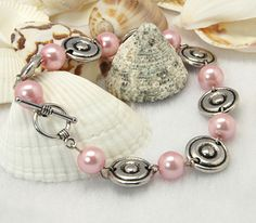 Fashion Bracelets, with Glass Pearl Beads, Tibetan Style Beads and Tibetan Silver Toggle Clasps.