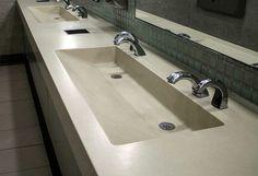 Trough sink w/ small flat area