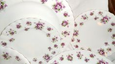 Beautiful vintage bone china Royal Albert 'Sweet Violets' Dinner Plates in the Etsy shop PrettyVintageHome