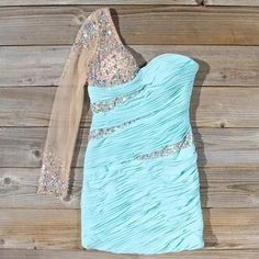 AHC180 One Shoulder Mint Homecoming Dress Sheath Chiffon with Beaded Long Sleeve Short Prom Dress