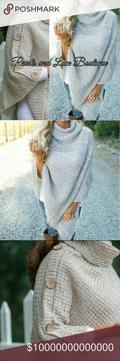 "JUST IN!  Oatmeal Knit Poncho Gorgeous oatmeal colored  solid knit button accent turtleneck poncho  Material: Acrylic Size: 22.5"" x  26"" New Boutique item Nadia Rima Sweaters Shrugs & Ponchos"