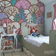 Colorful forest - wall mural. Kinda crazy but cute!