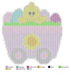 Easter Train Plastic Canvas Christmas, Plastic Canvas Crafts, Plastic Canvas Patterns, Easter Crochet, Crochet Bunny, Pink Pumpkins, Needlepoint Patterns, Canvas Designs, Tissue Box Covers