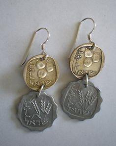 Double Coin EarringsSterling Silver Ear by glistajewelry