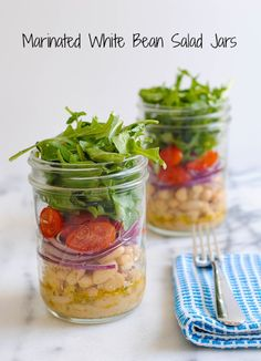 White Bean Salad Jars - A light and fresh lunch to get you through the work week. Foxes Love Lemons