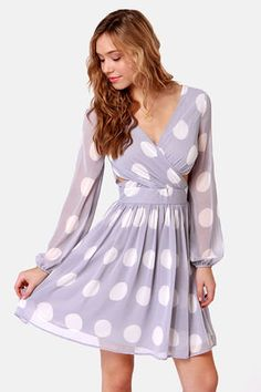 Polka Latte Lavender Polka Dot Dress #PolkaDot #Lavender