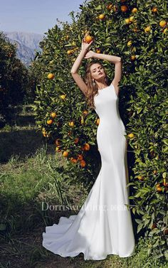 #Dorris Wedding - #Dorris Wedding Bateau Floor-length Low-V Back Sheath Satin Dress With Crystal Detailing - AdoreWe.com