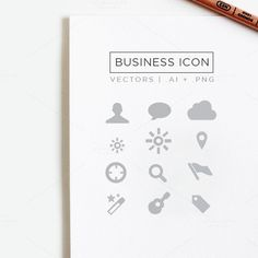 Simple Unicolor Business Icon Set by Feather Art on Creative Market