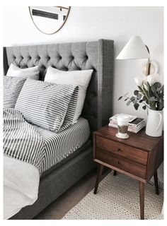 Gray Bedroom, Home Decor Bedroom, Trendy Bedroom, Master Bedroom, Bedroom Modern, Contemporary Bedroom, Gray Home Decor, Modern Contemporary, Gray Bedding