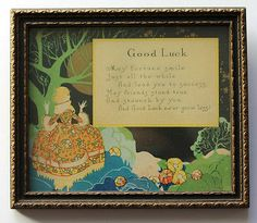 """VINTAGE BUZZA MOTTO """"Good Luck"""" SAYING POEM FRAMED LITHOGRAPH PRINT PICTURE"""
