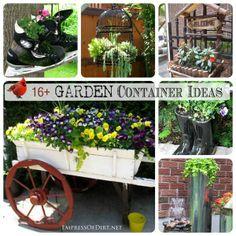 *16+ Creative DIY Containers for your garden - http://gardeningforyou.info/16-creative-diy-containers-for-your-garden/ #gardening #flowers