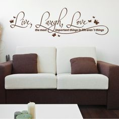 Live, Laugh, Love Quote Phrases Wall Decal (31in x 10in )