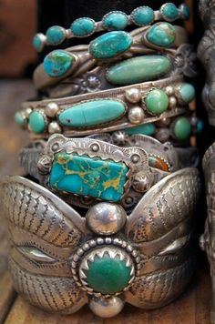 boho bangles Turquoise bracelets by Greg Thorne. Turquoise Jewelry, Turquoise Bracelet, Silver Jewelry, Vintage Turquoise, Turquoise Fashion, Silver Bracelets, Turquoise Cuff, Cuff Bracelets, Silver Cuff