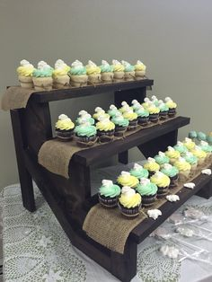 Shabby chic wooden cupcake stand. Held 60 cupcakes!