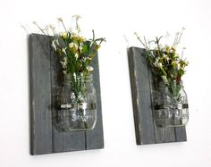 Set of 2 Mason Jar Wall Decor Distressed by OakLaneWoodworks