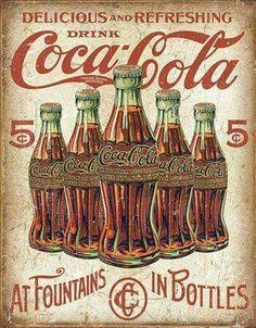 COCA COLA metal sign black bottle in hand vintage style coke ad soda pop Coca Cola Poster, Coca Cola Ad, Always Coca Cola, Coca Cola Bottles, Pepsi, Coke Ad, Vintage Coca Cola, Pub Vintage, Vintage Signs