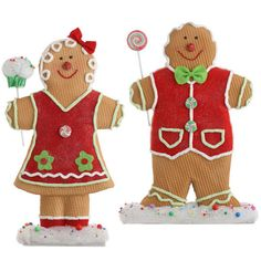 Gingerbread boy and girl set whimsical christmas by PartyDreams, $80.00
