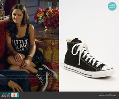 Princess Eleanor's black sneakers on The Royals.  Outfit Details: https://wornontv.net/55358/ #TheRoyals