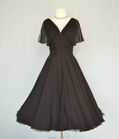 Vintage 1960s Midnight Black Chiffon Cocktail Dress
