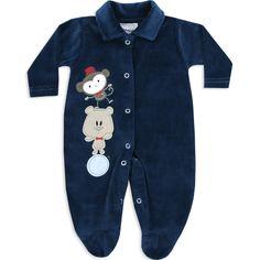 Macacão de Plush para Bebê e Recém Nascido Menino Marinho - Travessus :: 764 Kids | Roupa bebê e infantil